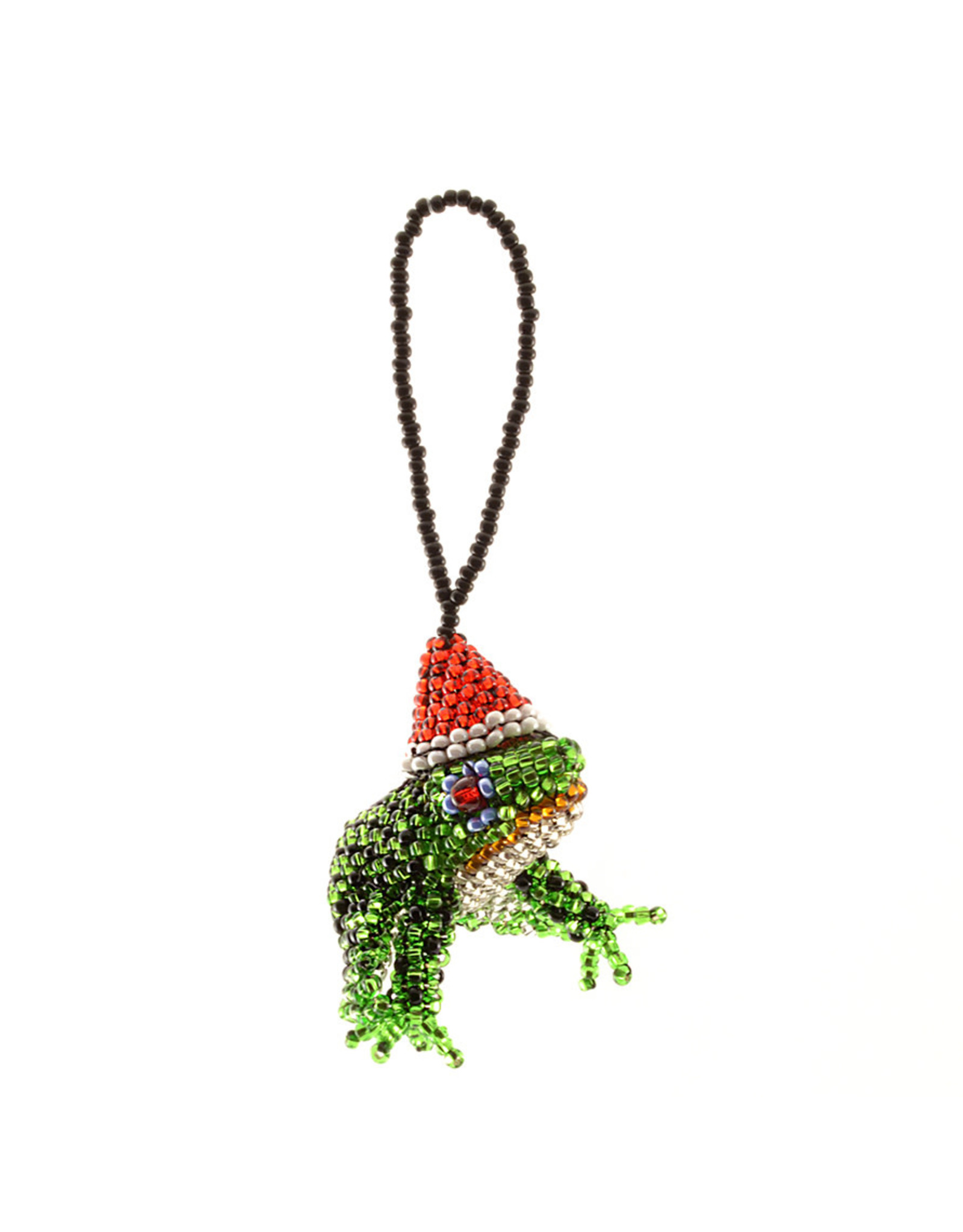 Lucia's Imports Beaded Holiday Frog Ornament