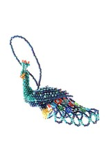 Lucia's Imports Large Beaded Peacock Ornament, Guatemala