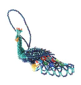 Lucia's Imports Large Beaded Peacock Ornament, Guatemala