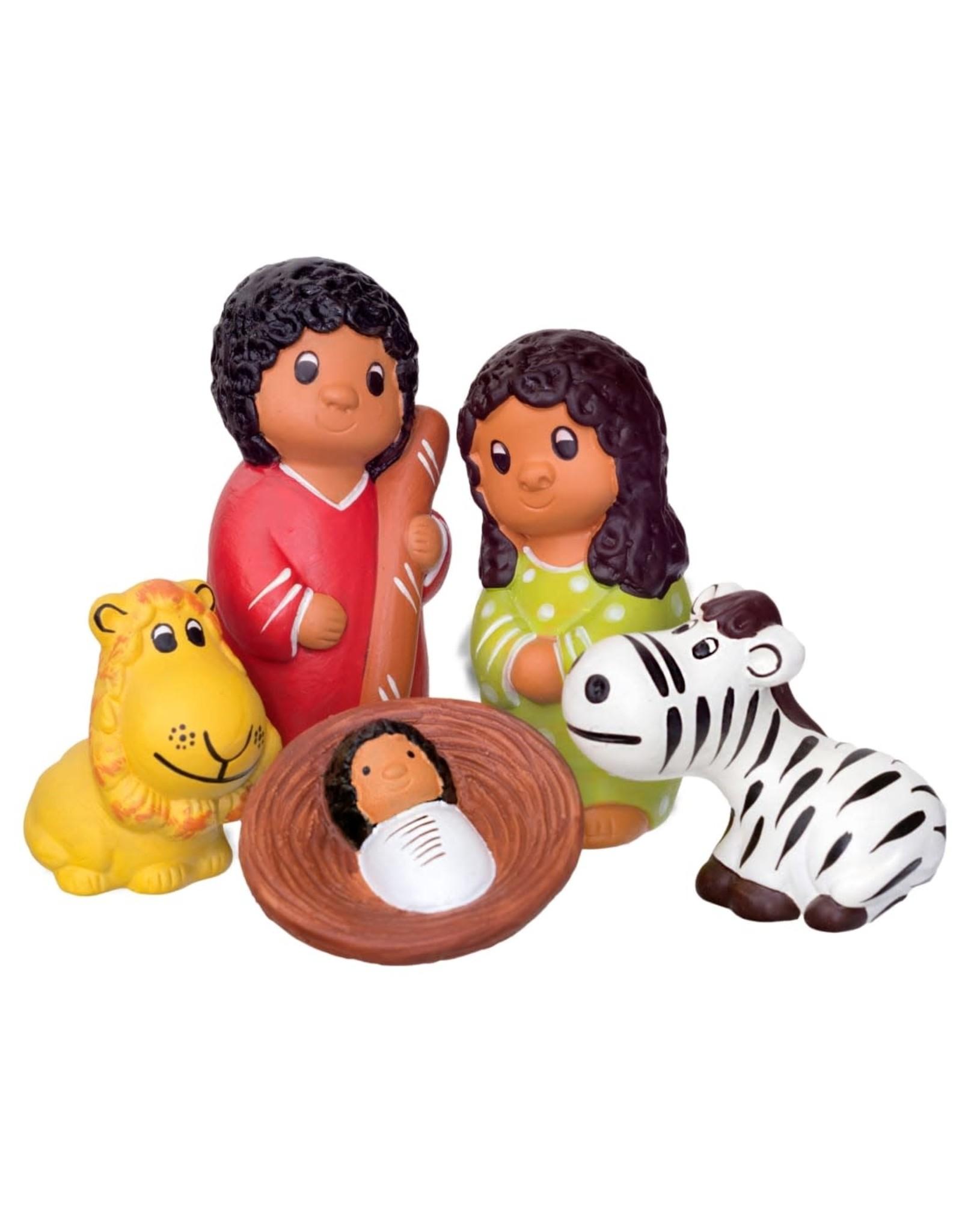 Lucuma African Animals Ceramic Nativity, 5pcs