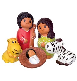 Lucuma African Animals Ceramic Nativity, 5pcs
