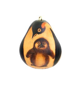 Lucuma Penguin Mom & Baby Gourd Ornament