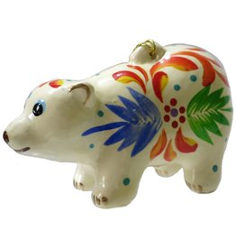 Lucuma Painted Polar Bear Ceramic Ornament