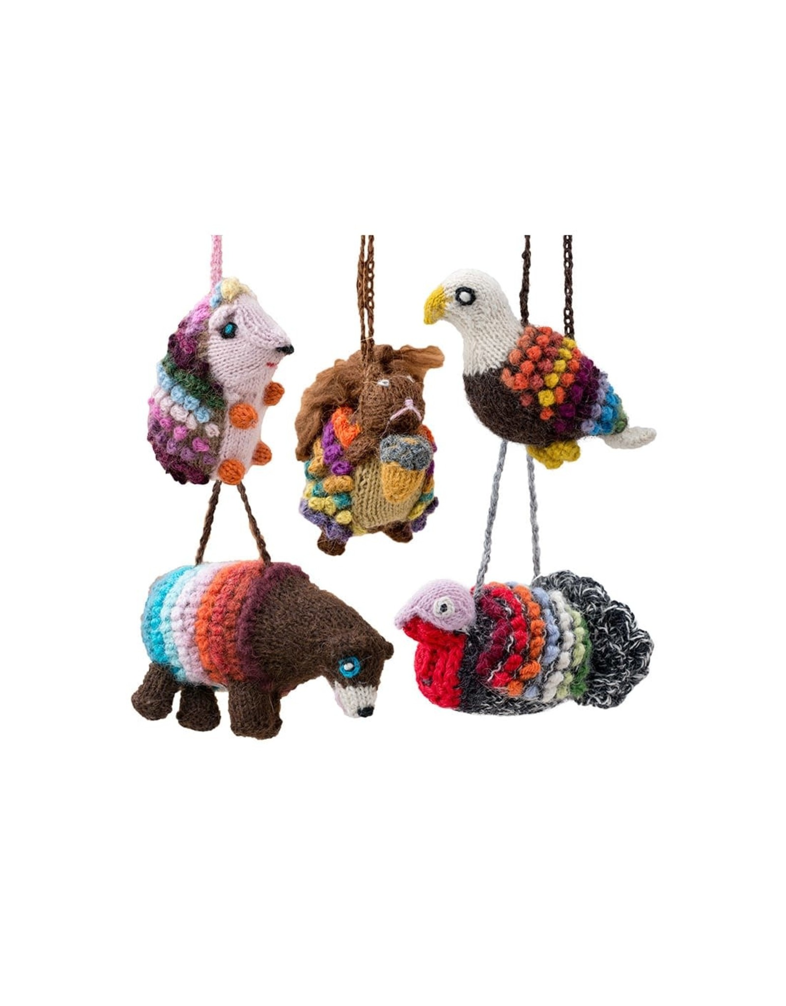 Lucuma Knit Forest Animal Ornaments, assorted