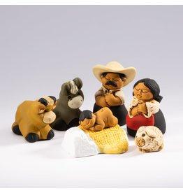 Lucuma Characato Small Ceramic Nativity, 9pcs