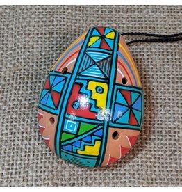 Ten Thousand Villages Multicoloured Ceramic Ocarina Flute