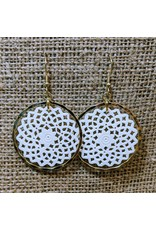 Ten Thousand Villages Brass & Bone Filigree Earrings