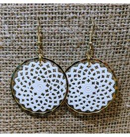 Ten Thousand Villages Brass & Bone Filigree Earrings