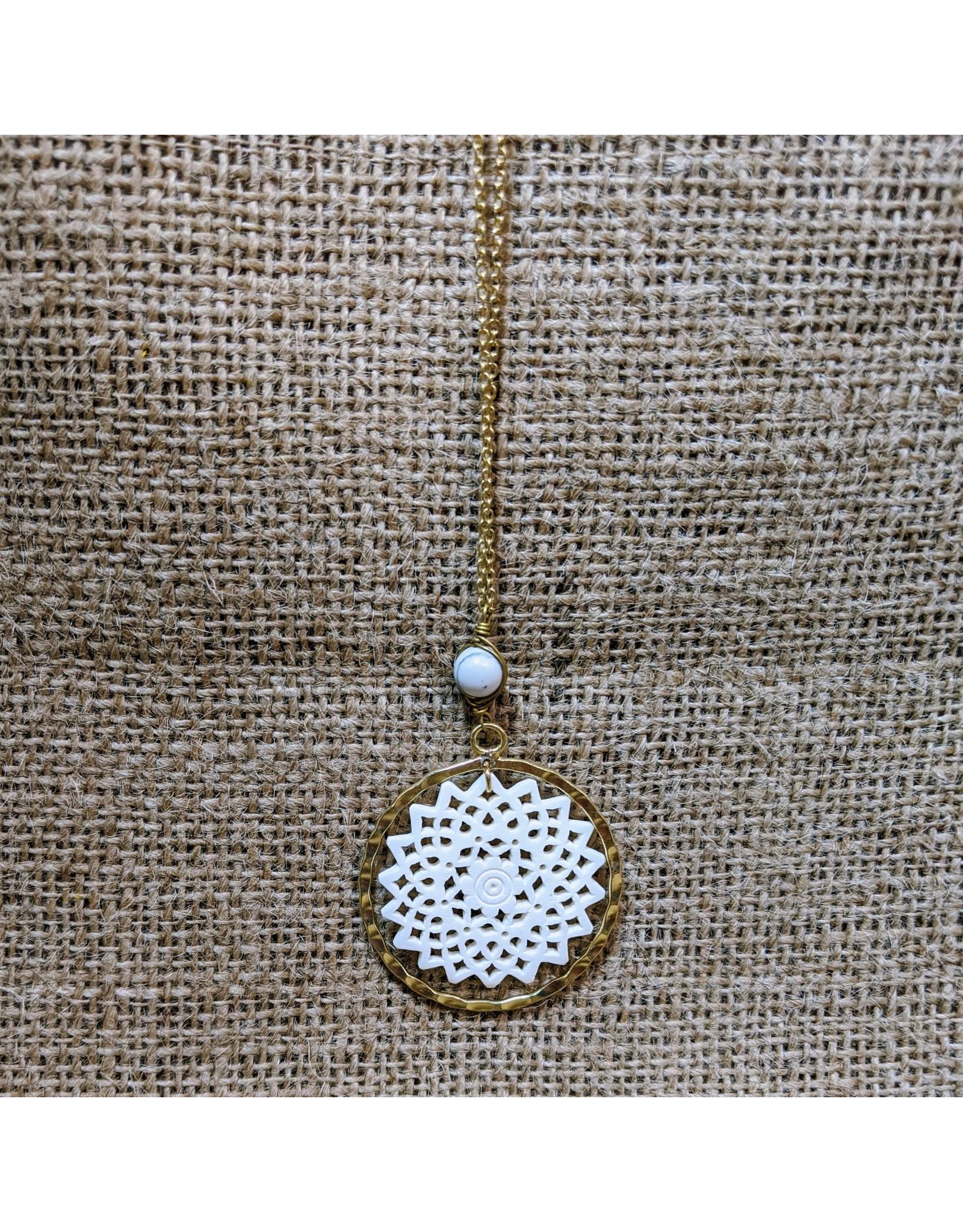 Ten Thousand Villages CLEARANCE  Bone & Brass Pendant Necklace, India