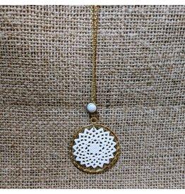 Ten Thousand Villages Bone & Brass Pendant Necklace