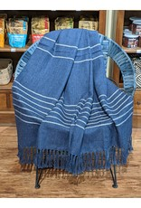 Ten Thousand Villages Cream & Blue Alpaca Throw