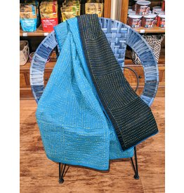 Ten Thousand Villages Recycled Kantha Throw Black/Turquoise
