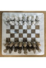 Ten Thousand Villages Fossil Stone 32 piece Chess Set