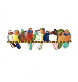 Papillon Colourful Birds on a Perch Cut Metal Hanging, Haiti