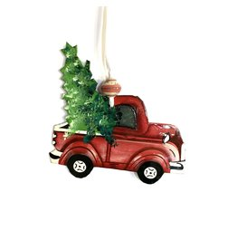 Papillon Red pickup cut metal ornament