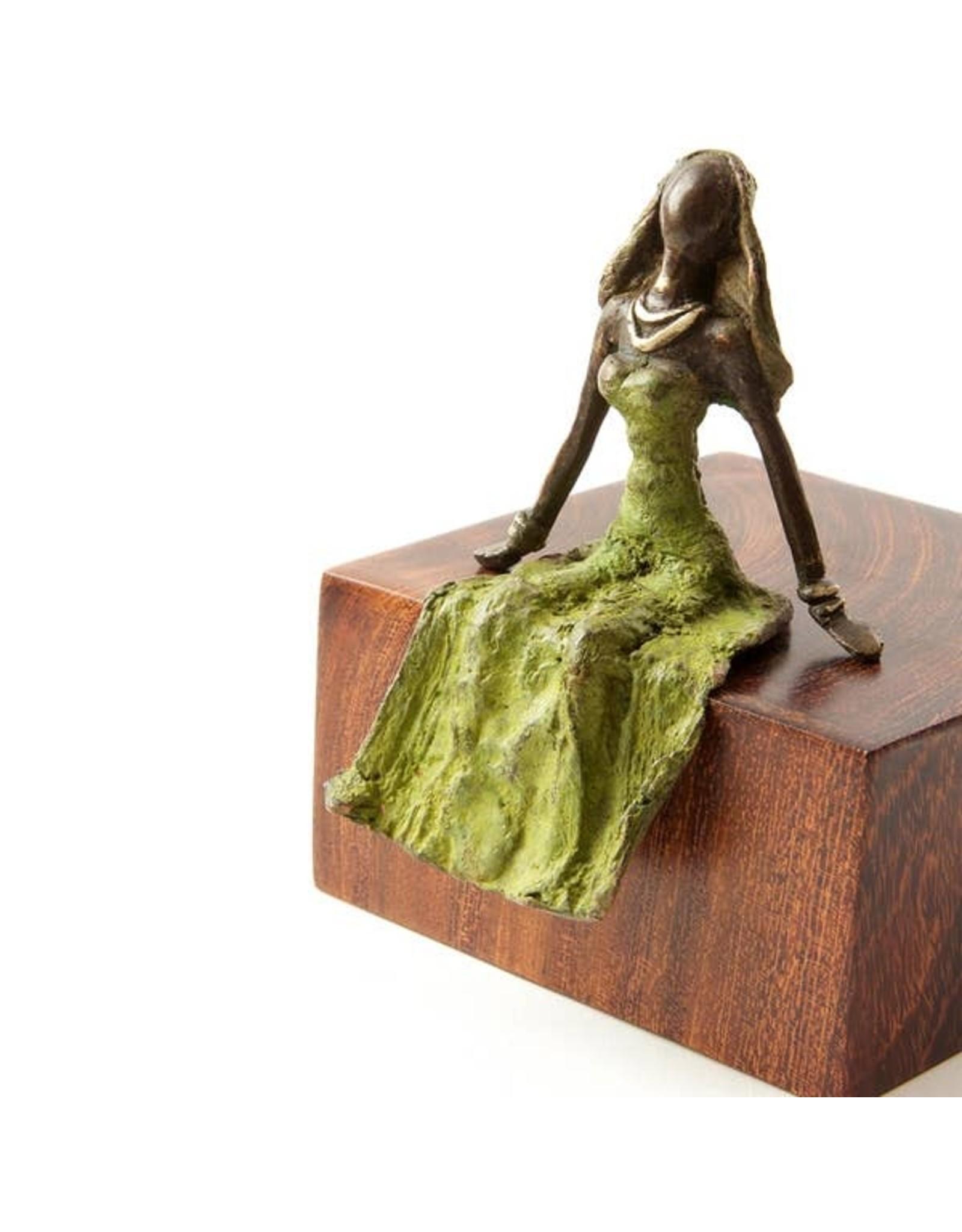 Swahili Wholesale Lost Wax Bronze woman, green seated