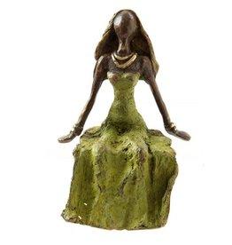 Swahili Wholesale Lost Wax Bronze woman, green seated, Burkina Faso