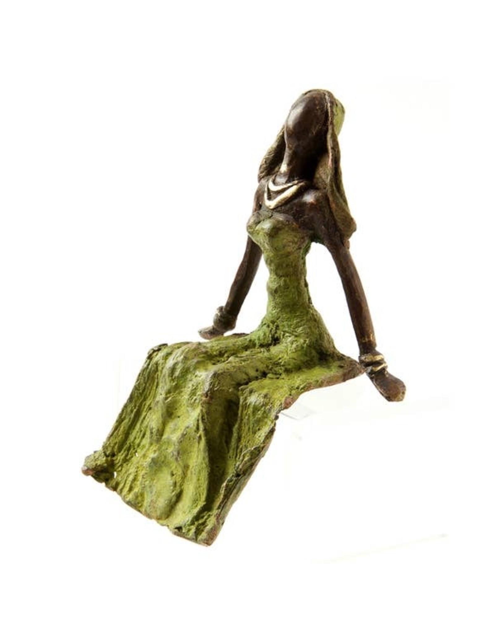 Swahili African Modern Lost Wax Bronze woman, green seated