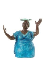 Swahili Wholesale Lost Wax Sculpture- Woman in Blue
