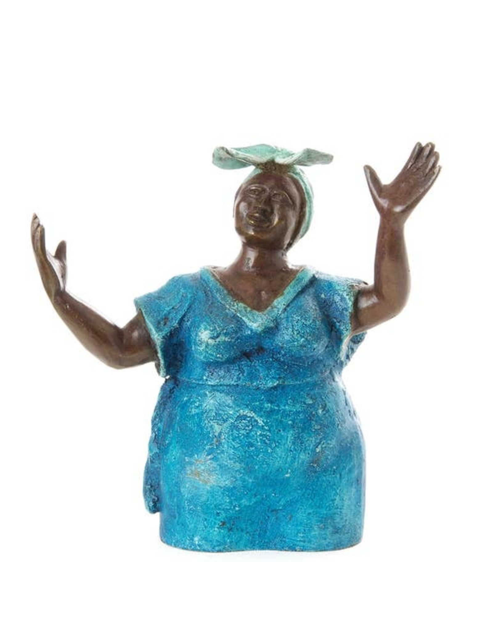 Swahili African Modern Lost Wax Sculpture- Woman in Blue