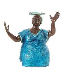 Swahili Wholesale Woman in Blue Lost Wax Sculpture, Burkina Faso