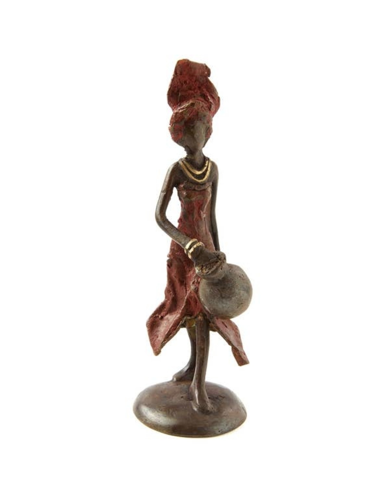 Swahili African Modern Lost Wax Sculpture- woman in red