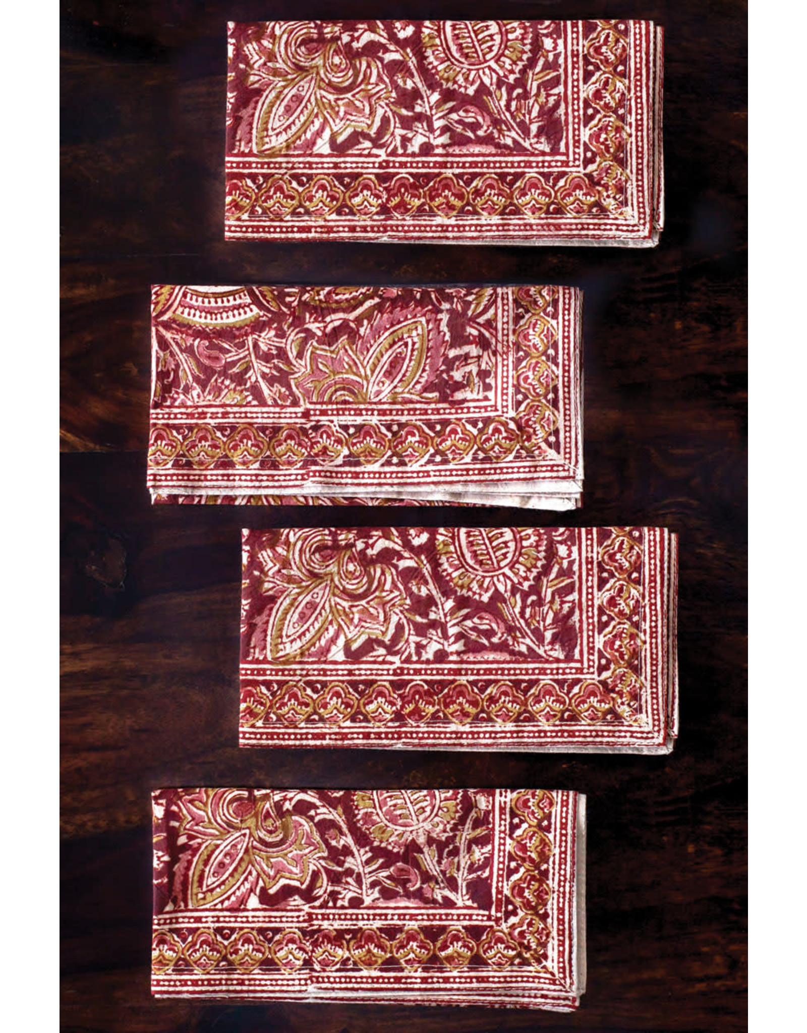 Sevya Kalamkari Napkin- Terracotta and Cranberry, set of 4