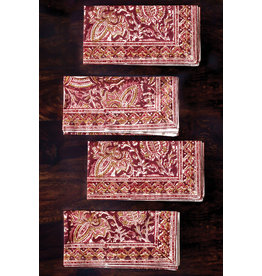 Sevya Kalamkari Napkin- Terracotta and Cranberry, set of 4