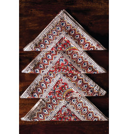 Sevya Kalamkari Napkins, Brick and Gold, set of 4