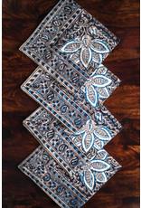 Sevya Kalamkari napkins, Charcoal and Blue, set of 4
