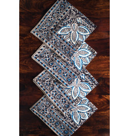 Sevya Kalamkari napkins, Charcoal and Blue, set of 4