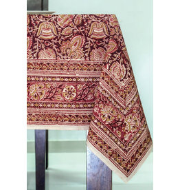 Sevya Kalamkari Tablecloth, Terracotta & Cranberry, India