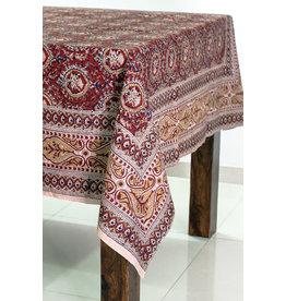 Sevya Kalamkari Tablecloth, Brick & Gold, India