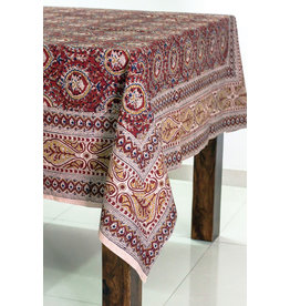 Sevya Kalamkari Tablecloth, Brick & Gold