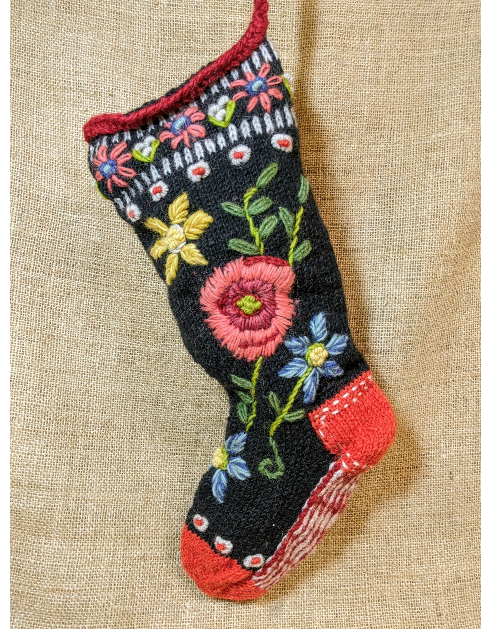 Lost Horizons Knit Christmas Stocking Floral Spray