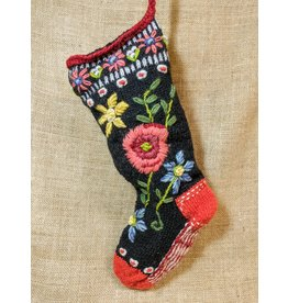 Lost Horizons Knit Christmas Stocking Floral Spray, Nepal