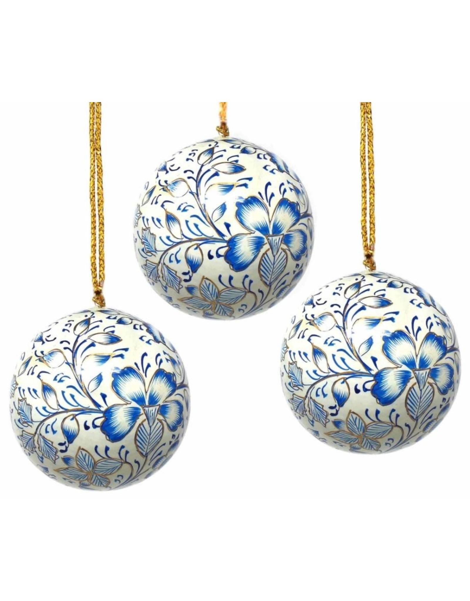 Global Crafts Handpainted Paper-mache Ornament, Blue floral