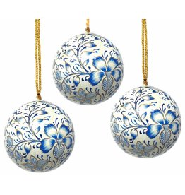 Global Crafts Handpainted Paper-mache Ornament, Blue floral