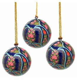 Global Crafts Handpainted Paper-Mache Ornament, Blue & Coral Floral