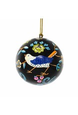 Global Crafts Handpainted Paper-Mache Ornament, Black  Flowers