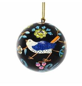 Global Crafts Handpainted Paper-Mache Ornament, Black  Flowers