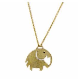 Global Crafts Brass Elephant Pendant Necklace, India