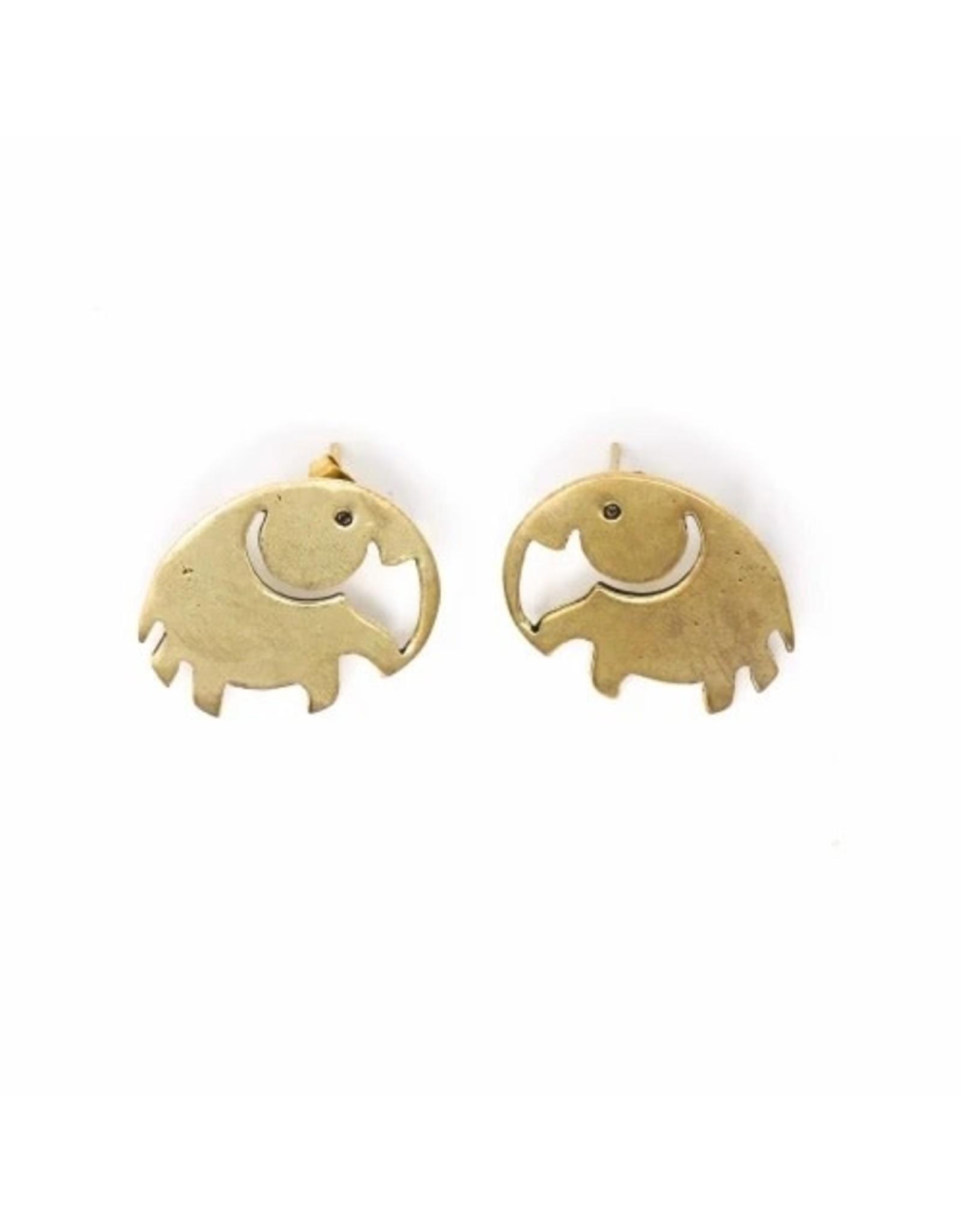 Global Crafts Brass Elephant Stud Earrings, India