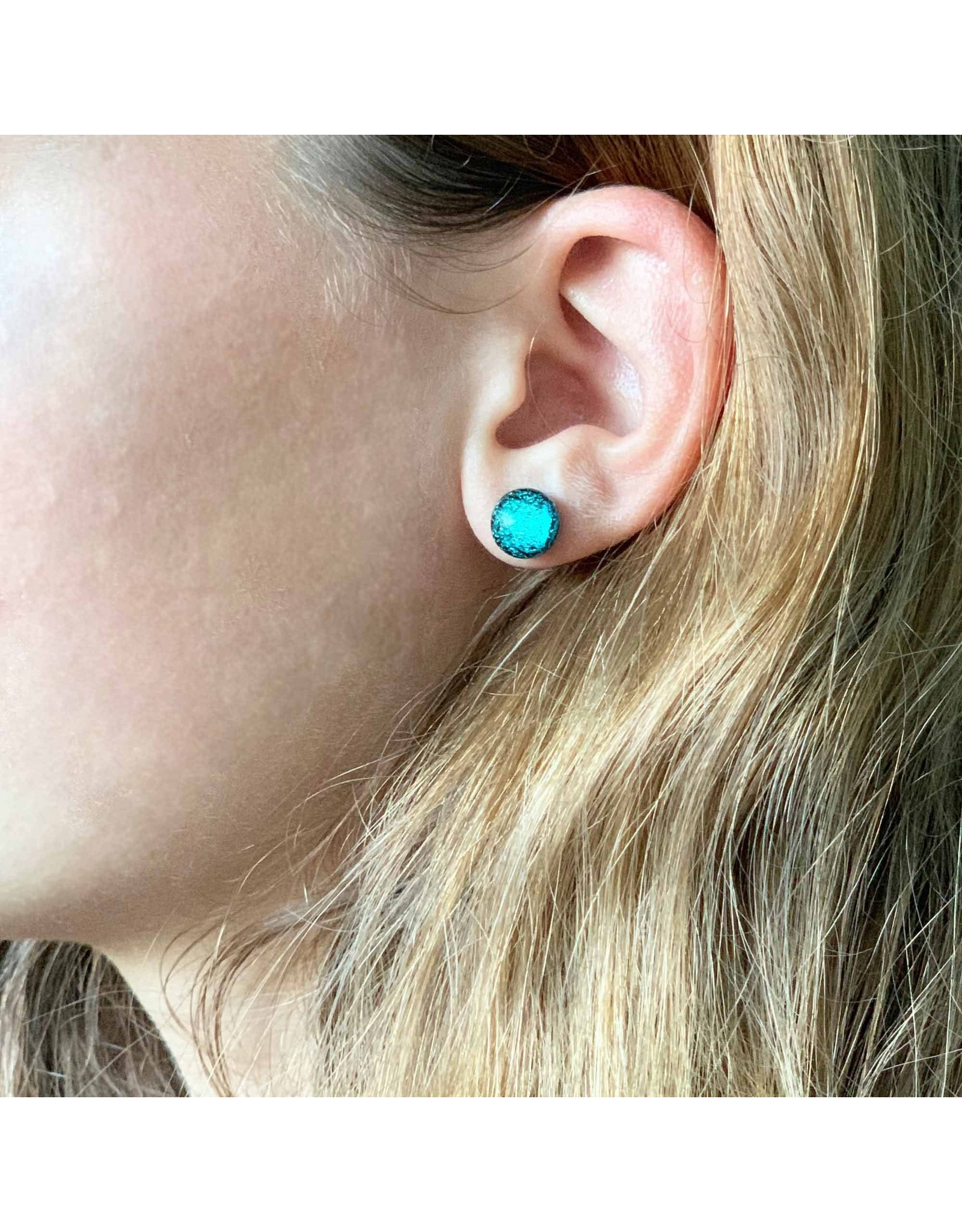 Global Crafts Round Glass Stud Earrings, Turquoise