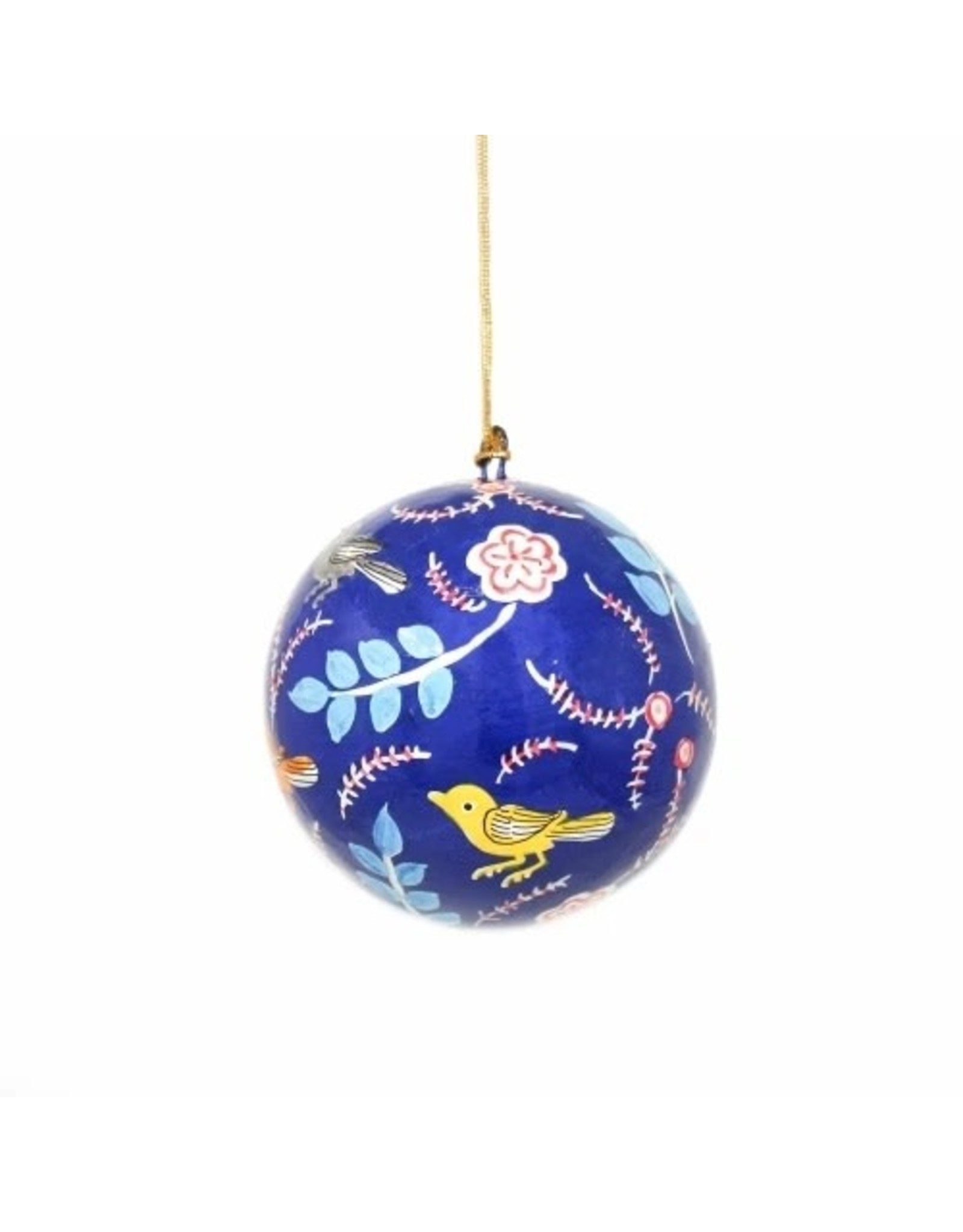 Global Crafts Handpainted Paper-Mache Ornament, Blue Birds