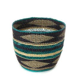 Swahili Wholesale Lace Weave Teal Basket, Ghana