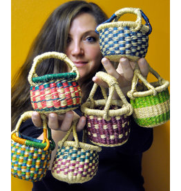 Swahili Wholesale Teeny Bolga Basket, Assorted. Ghana