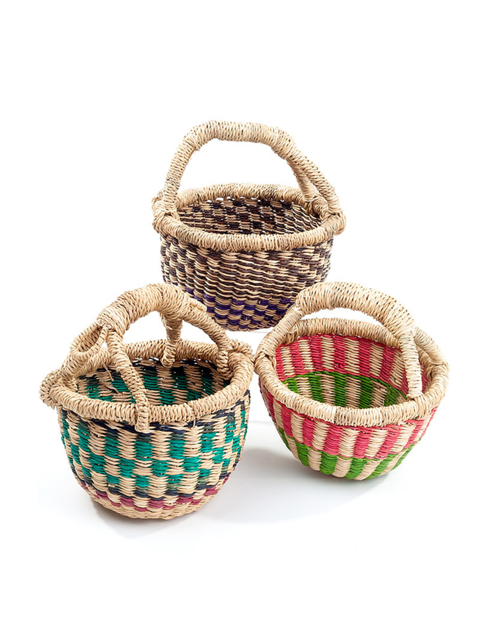 Swahili Wholesale Teeny Bolga Basket, Assorted, Ghana
