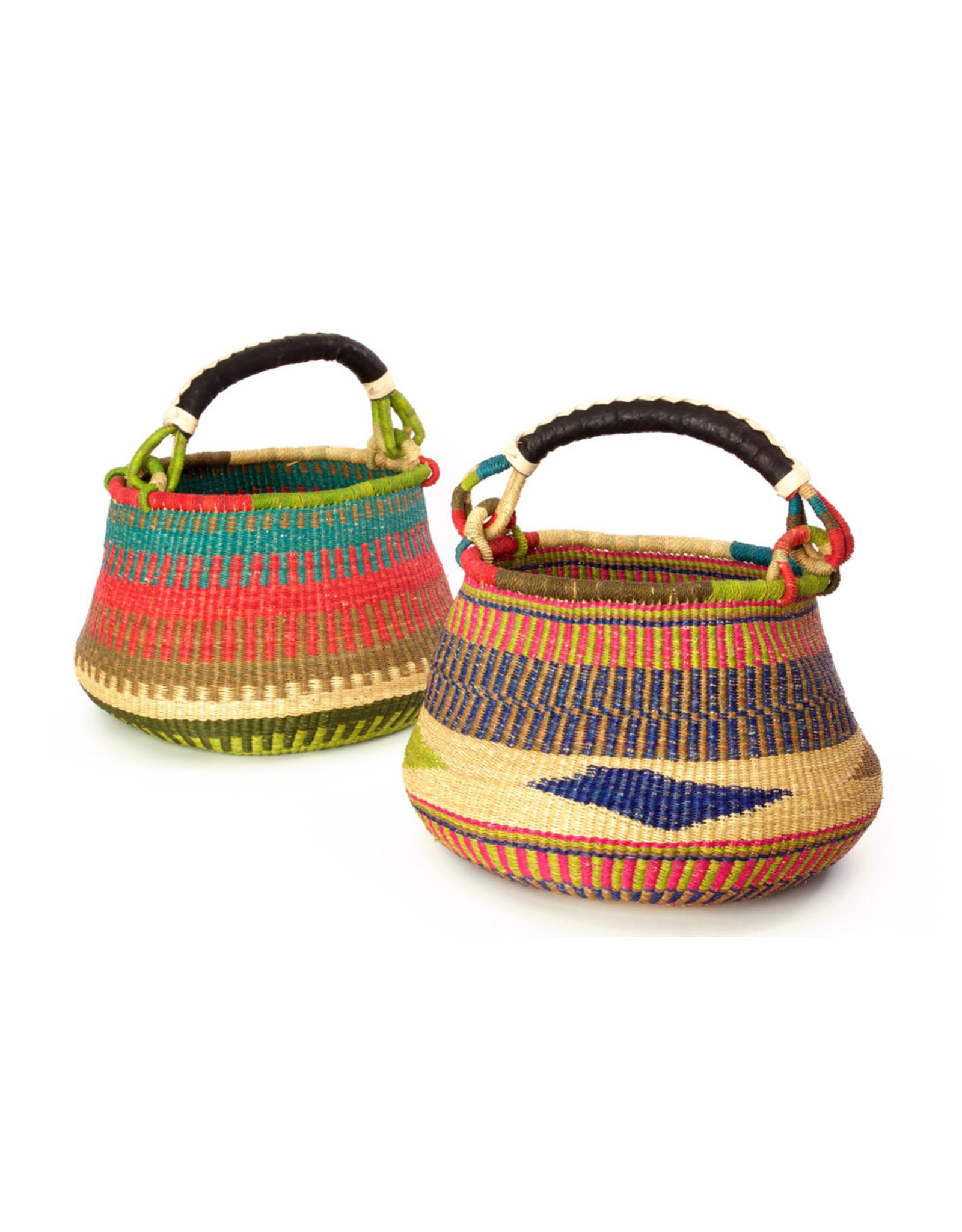 Swahili Wholesale Pear Bottom Bolga Basket, assorted. Ghana