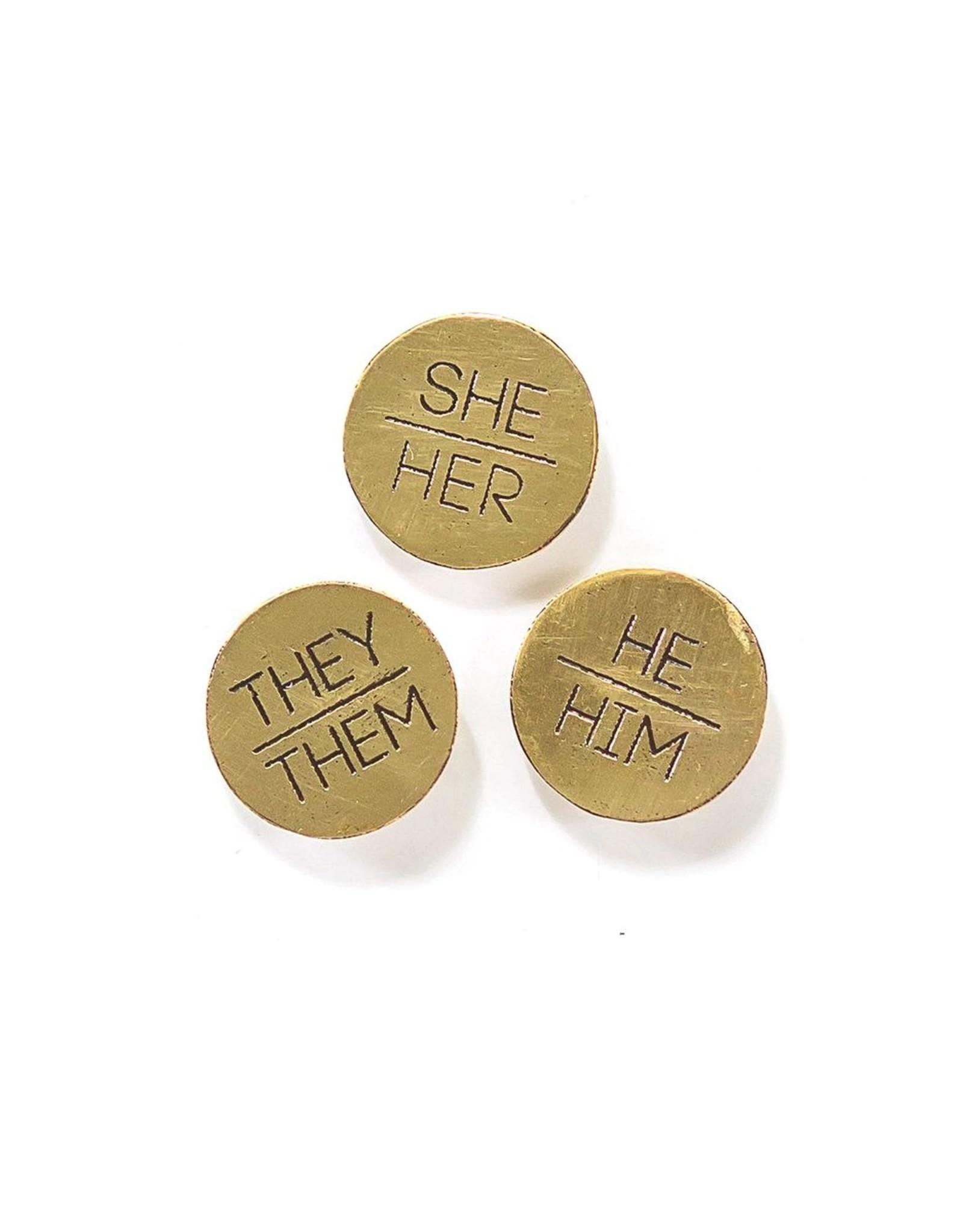Fair Anita Brass Pronoun pins